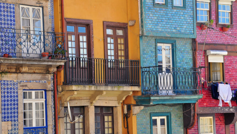 Multicolor houses of Porto, Portugal